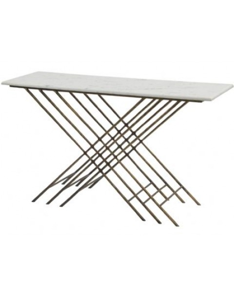 Libra -  Nolita White Marble And Antique Gold Console Table - Asco Lights